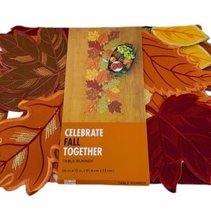 Celebrate Fall Together Leaf Cutout Table Runner